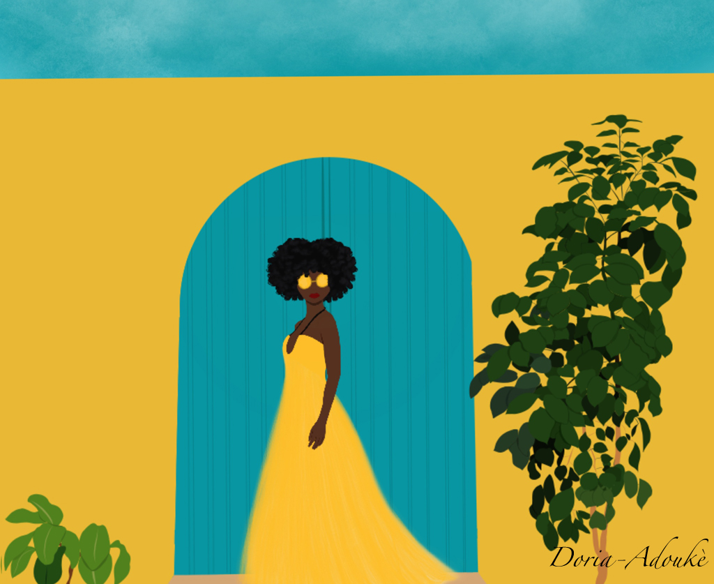 black girl goree senegal illustration