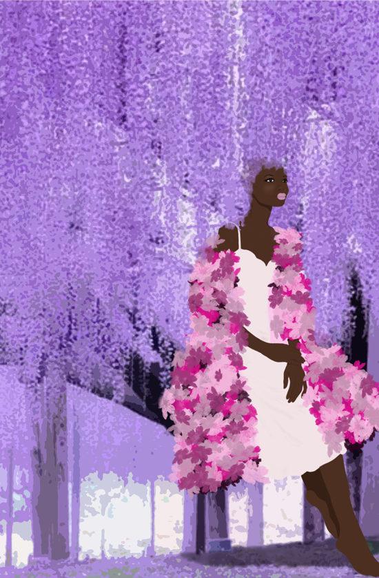 black girl purple leaves illustration