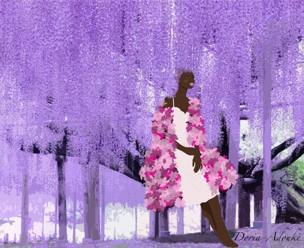 black girl purple leaves illustration