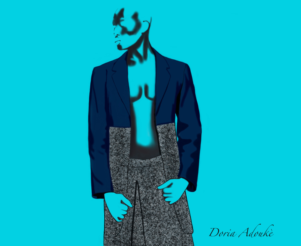 black man wearing skirt fashion illustration