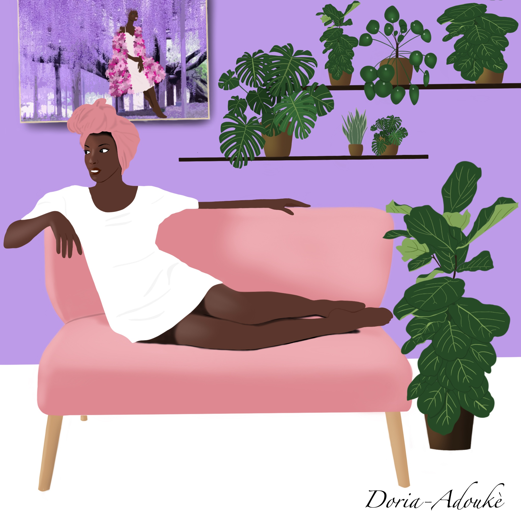 black woman lifestyle illustration