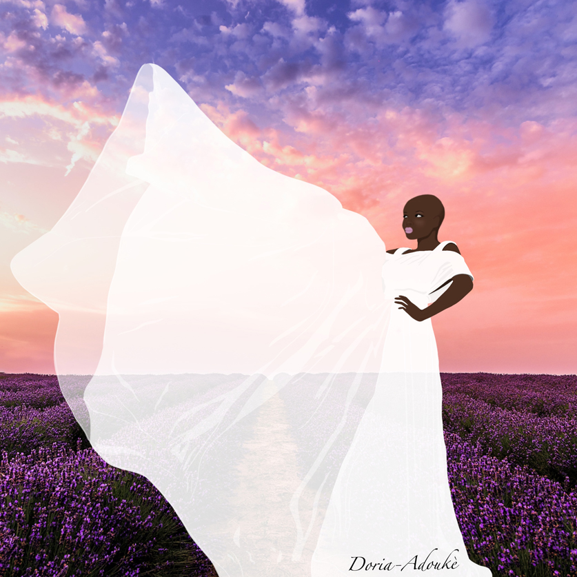 black woman in a lavender field illustration