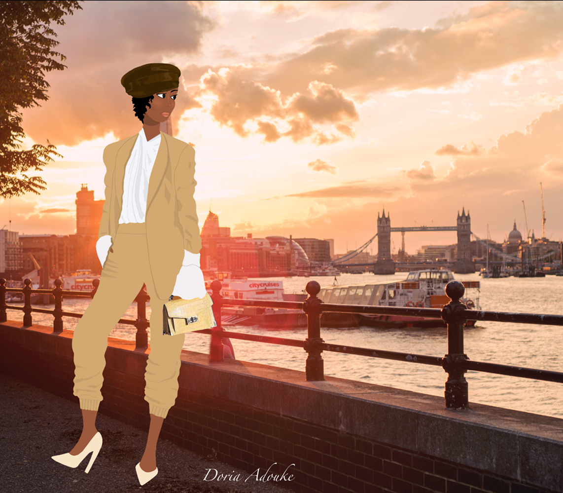 black woman in london illustration
