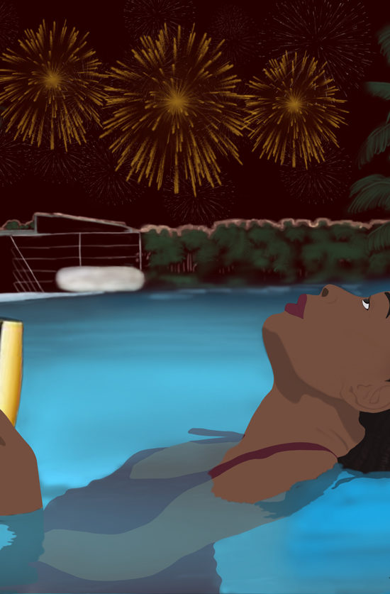 black women swimming pool illustration