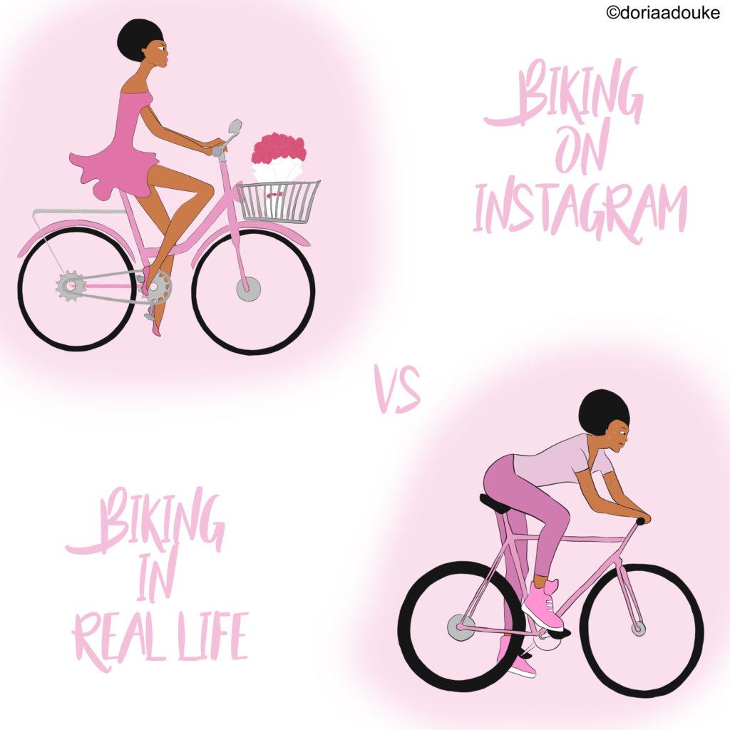 biking on instagram illustration