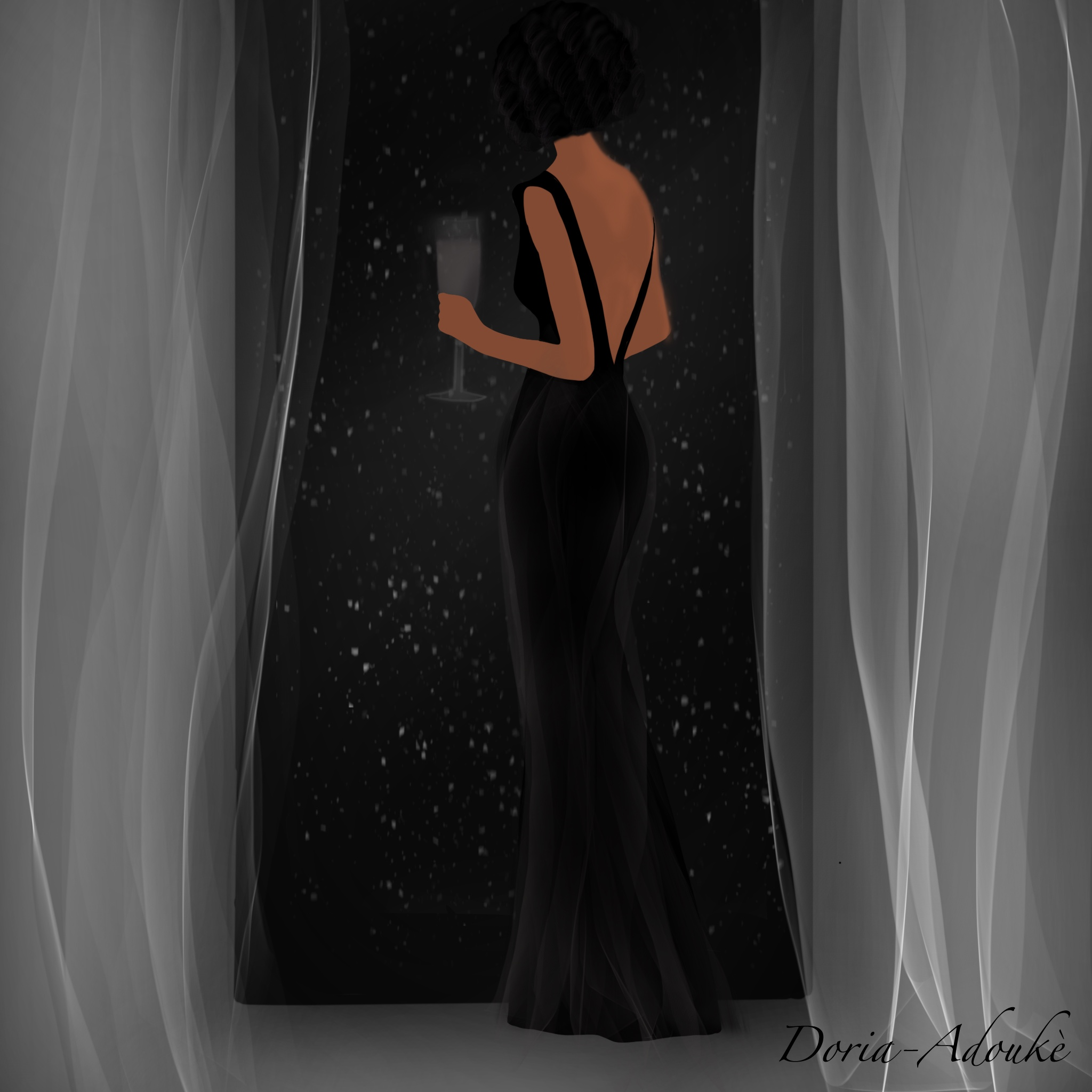 black girl in a cocktail dress illustration
