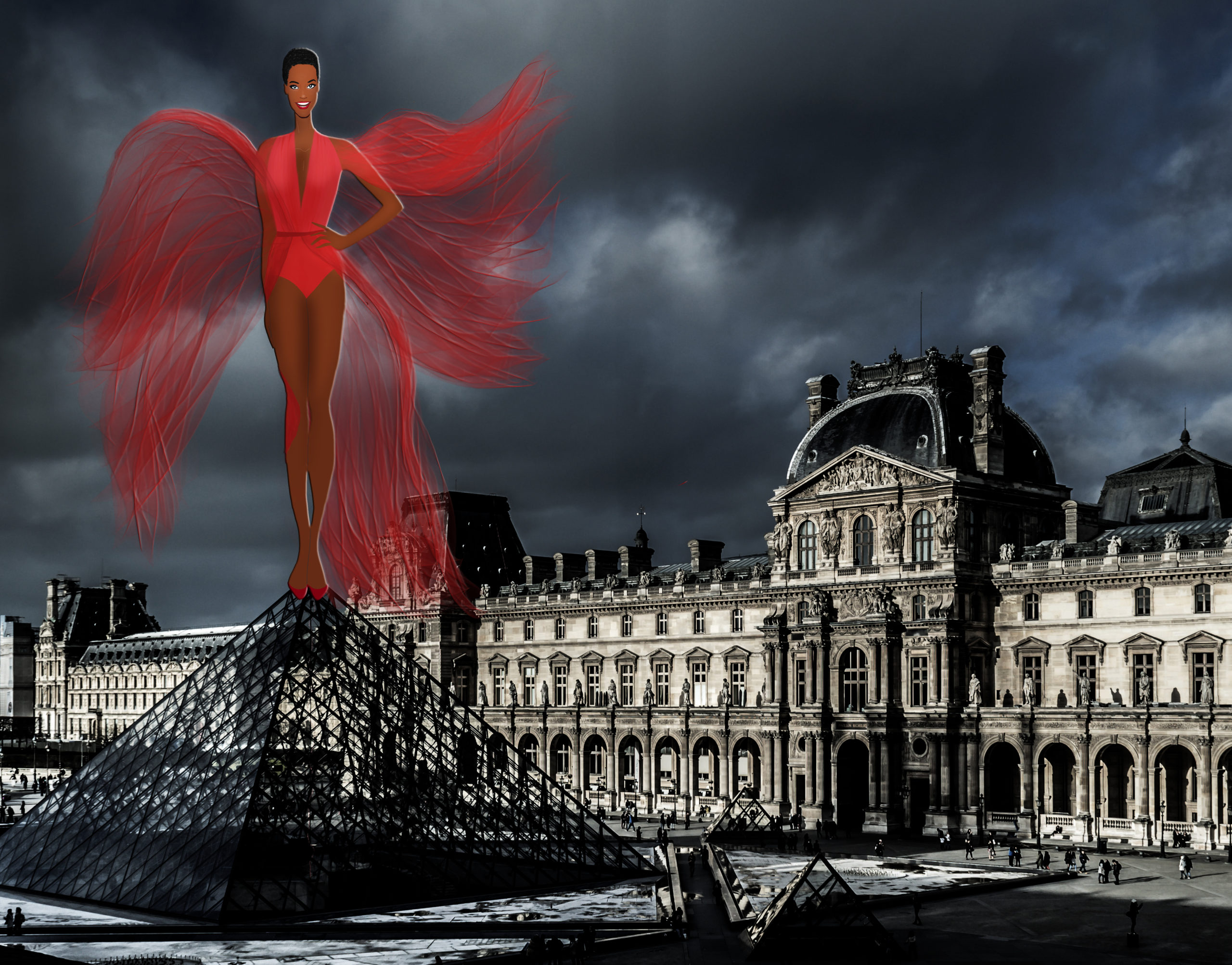 black women louvres paris illustration
