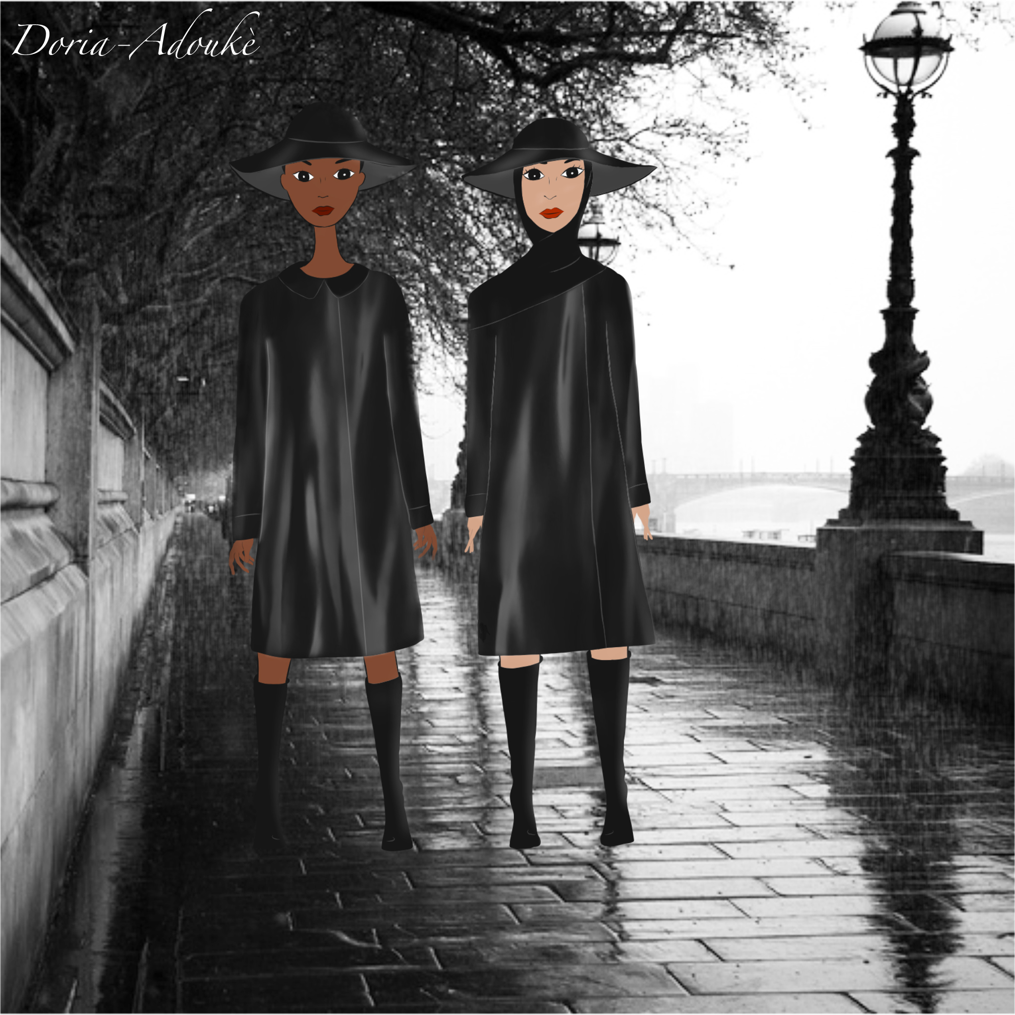 two girls rain london illustration