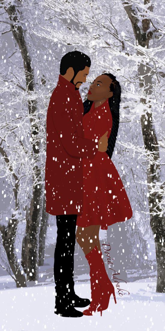 black couple snow illustration