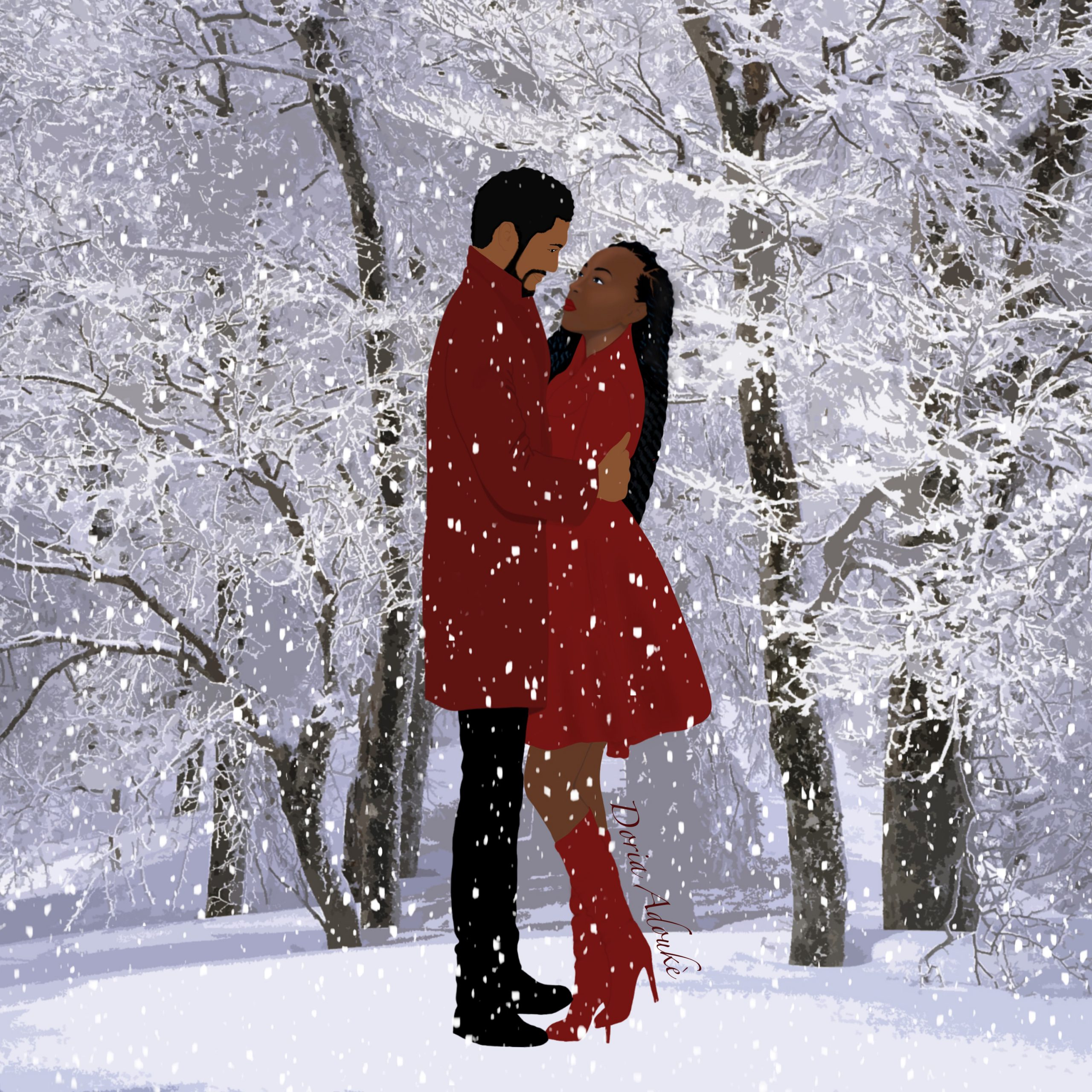 black couple snow illustration