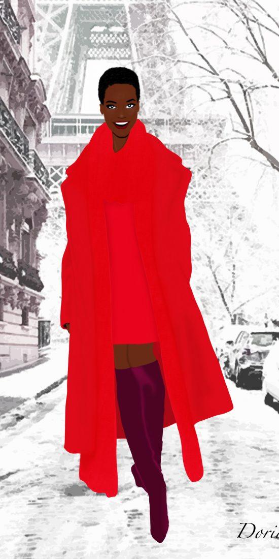 black girl in paris illustration