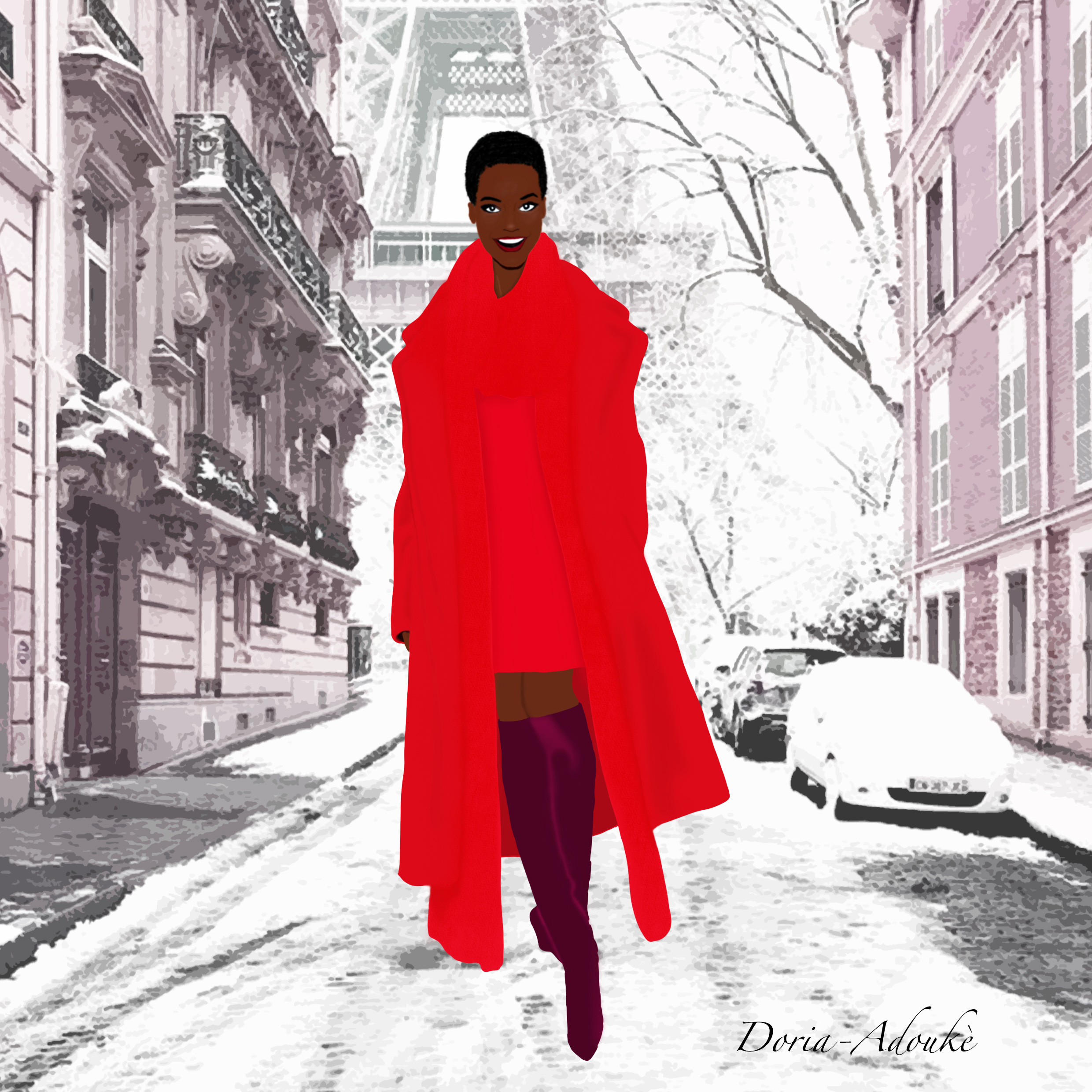 black girl in paris illustration