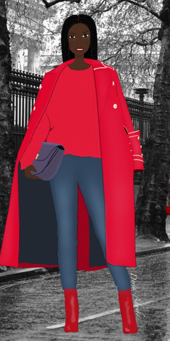 black girl in a red coat in london illustration
