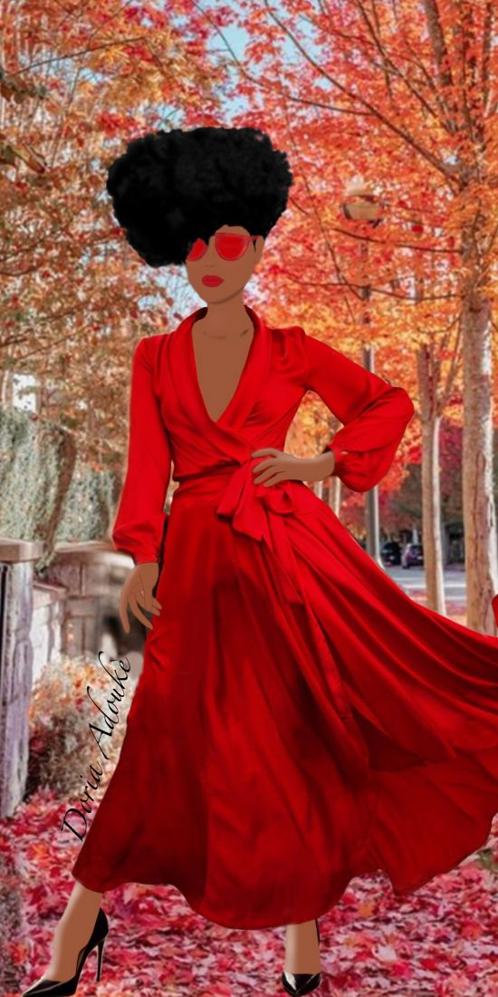 black woman red dress illustration