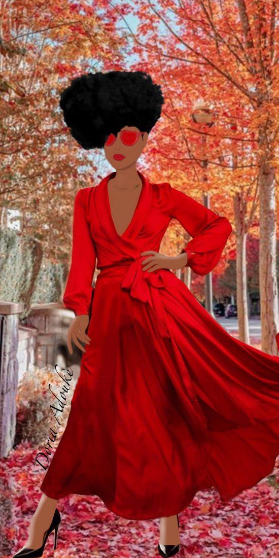black woman red dress illustration