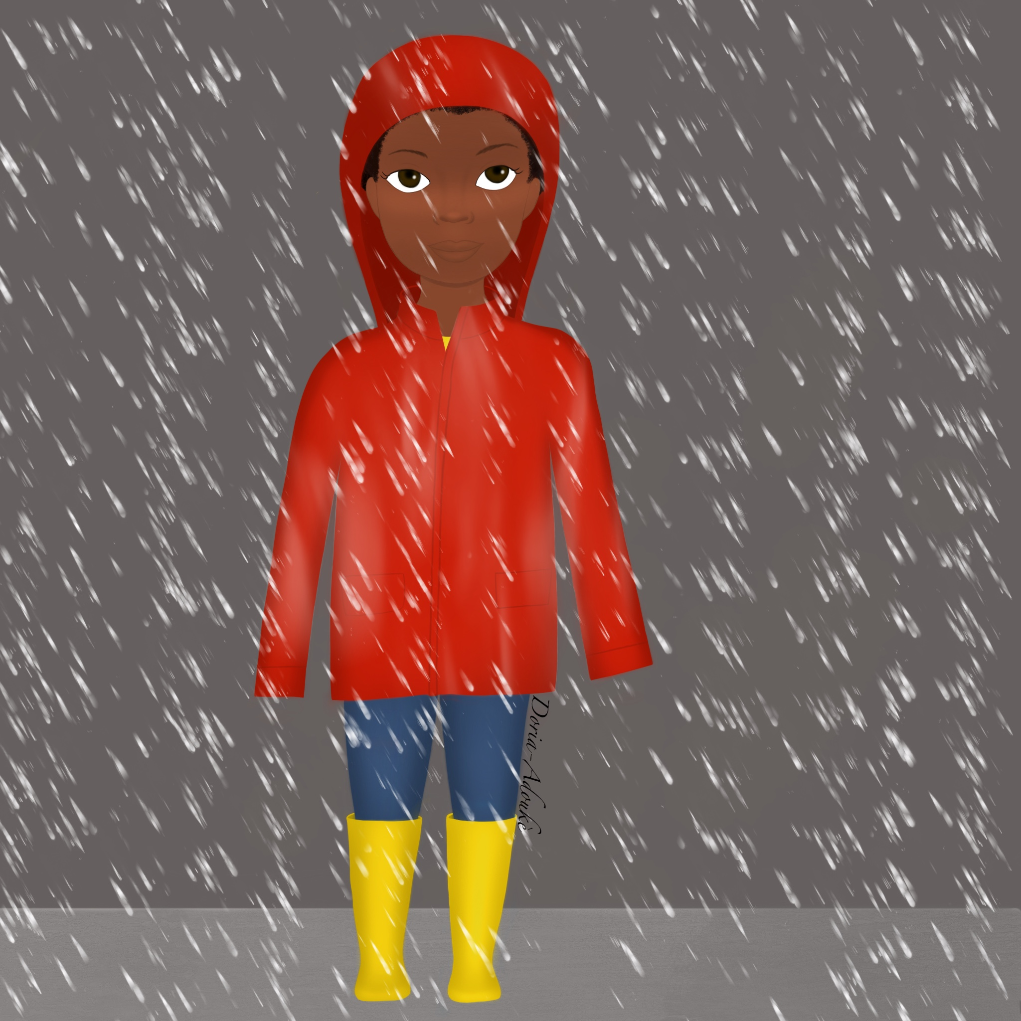 little black girl in a raincoat illustration