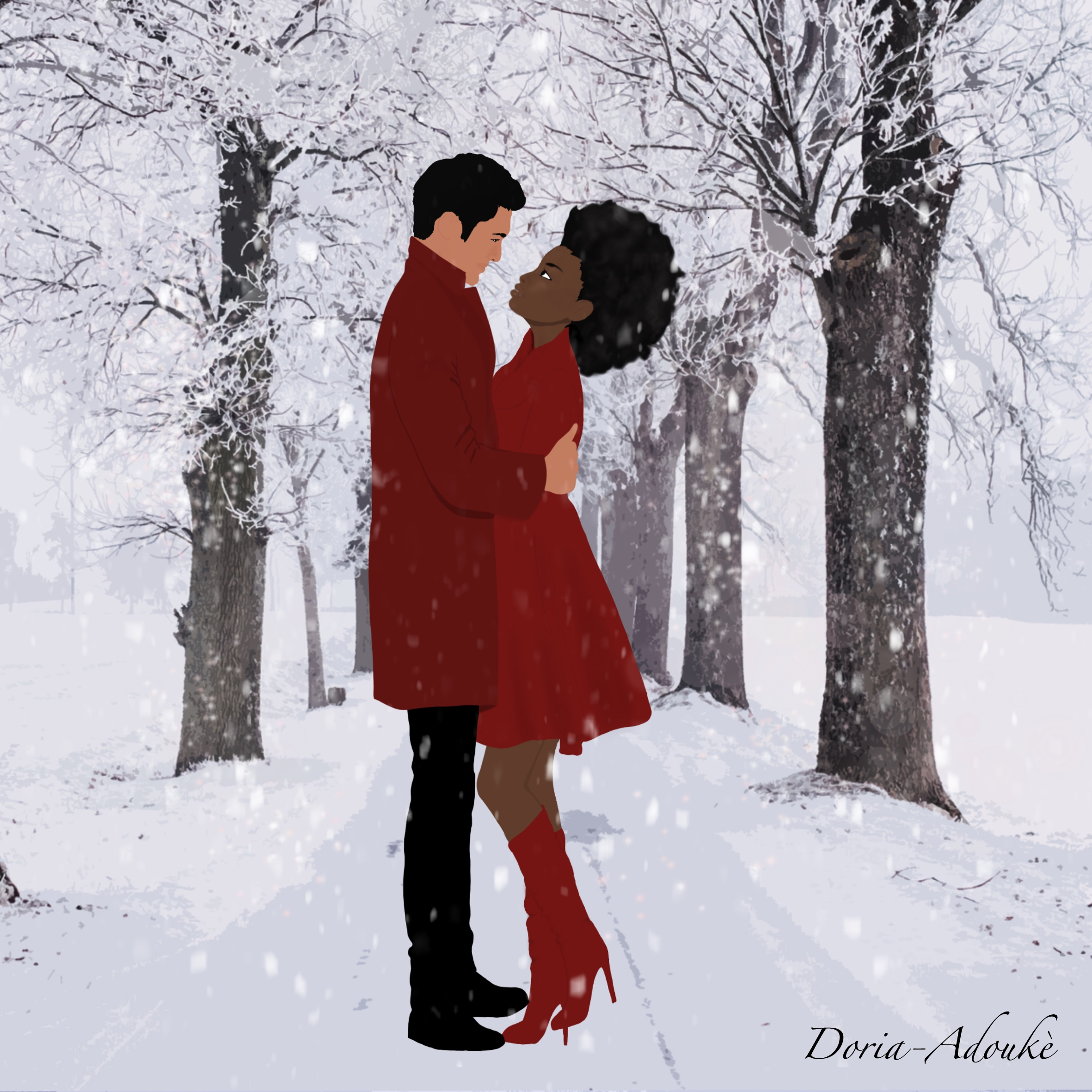 mixed couple under the snow illustration