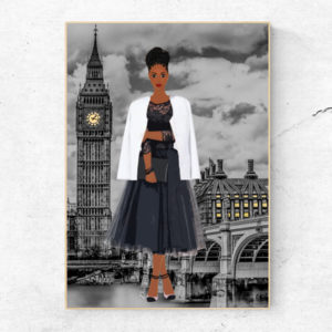 black girl in london art print