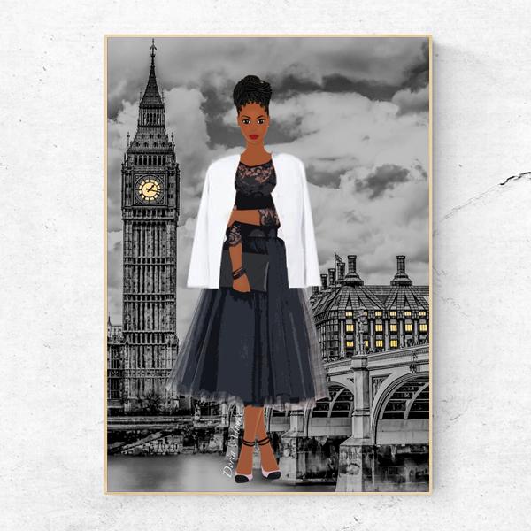 black girl in london art print