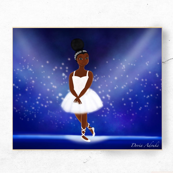 little black ballerina art print