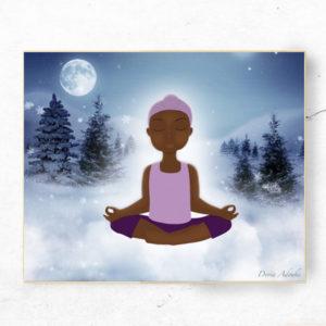 little black girl meditating art print