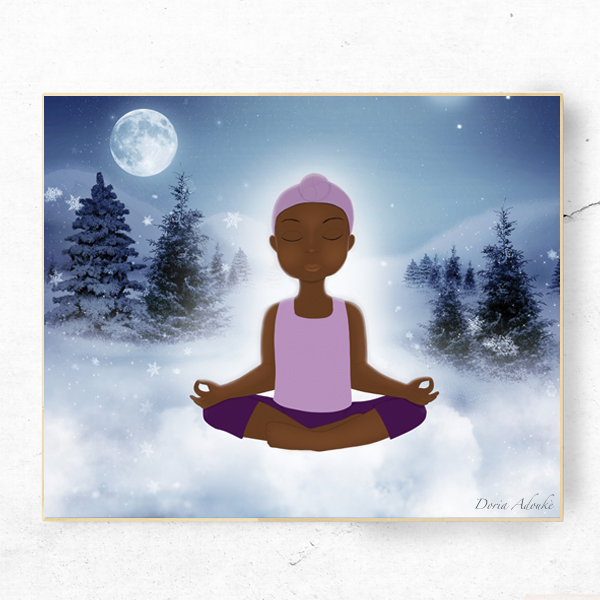 little black girl meditating art print