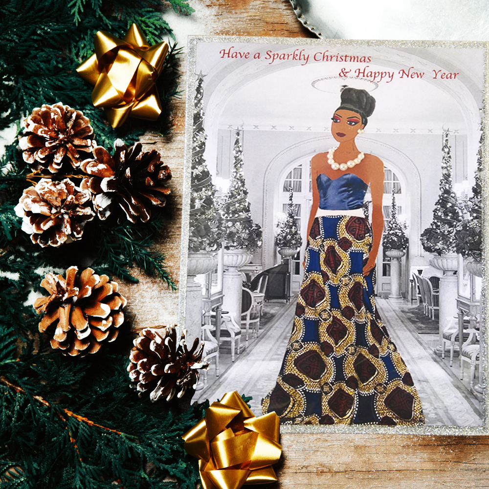 african woman christmas card