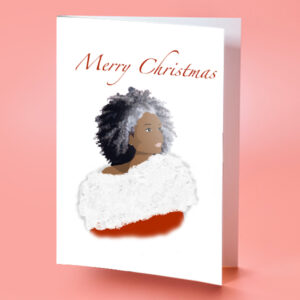 African American Santa Lady Christmas Card
