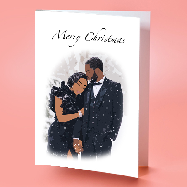 black couple christmas card
