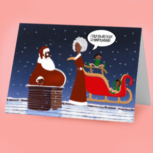 black santa Christmas Card
